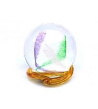 回憶纪念玻璃球 Swirl - Purple and Green with Gold Wave Wrap