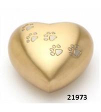 金色足印黃銅心形骨灰盅
